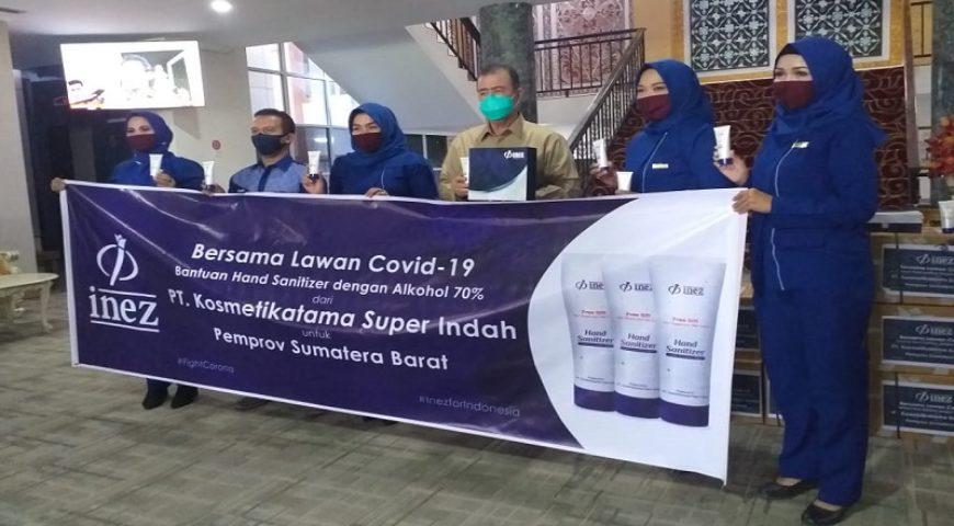Inez Kosmetik Serahkan Bantuan 1.000 Hand Sanitizer kepada Pemprov Sumbar